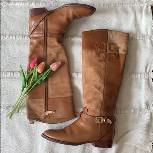 Tory Burch Lizzie Leather-Suede Riding boots